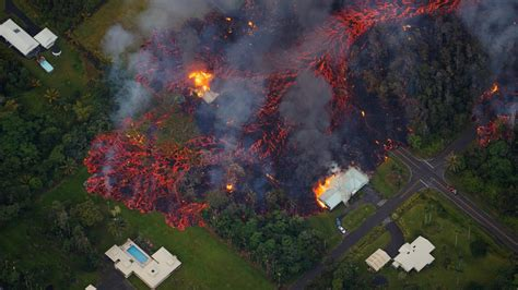 Aerial footage shows volcanic lava destroying homes in