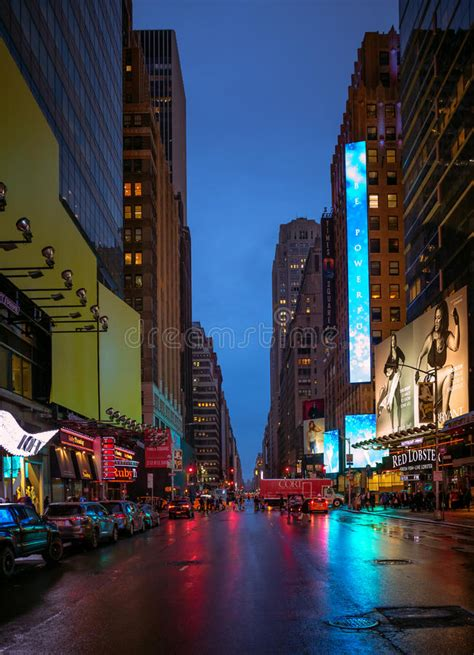 New York City Streets At Night Time Editorial Stock Photo