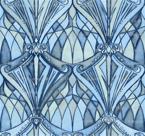 Navy, Blue and Grey Art Deco Pattern fabric - micklyn